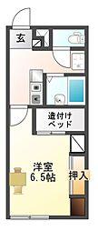 愛知県豊川市御津町西方源農の賃貸アパートの間取り