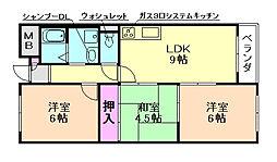 大阪府豊中市柴原町1丁目の賃貸マンションの間取り