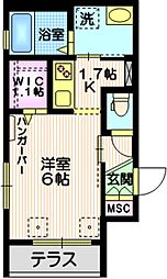 東急大井町線 尾山台駅 徒歩2分の賃貸マンション 1階1Kの間取り