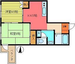 第2カメリアビル大澤[104号室]の間取り