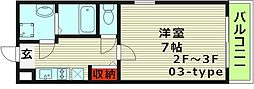 シャルム千林二番館 3階1Kの間取り