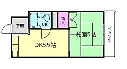 兵庫県川西市南花屋敷4丁目の賃貸アパートの間取り