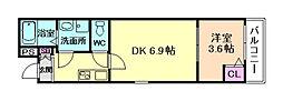 JR東海道・山陽本線 塚本駅 徒歩11分の賃貸アパート 1階1DKの間取り