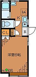 東京都世田谷区松原4丁目の賃貸アパートの間取り