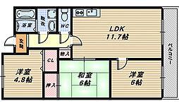 エンブル松永[4階]の間取り