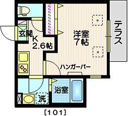 JR山手線 恵比寿駅 徒歩7分の賃貸マンション 1階1Kの間取り