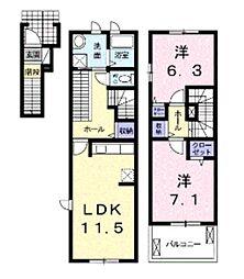 埼玉県さいたま市西区大字高木の賃貸アパートの間取り