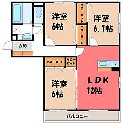 栃木県宇都宮市ゆいの杜7丁目の賃貸アパートの間取り