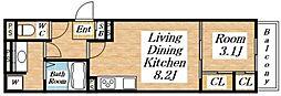 JR大阪環状線 桃谷駅 徒歩4分の賃貸アパート 2階1LDKの間取り