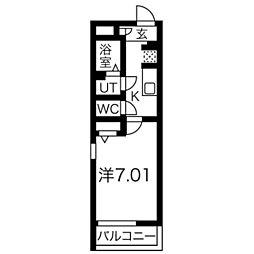 リブリ・新寺 3階1Kの間取り