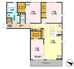 千葉都市モノレール 作草部駅 徒歩4分の賃貸アパート 1階3LDKの間取り