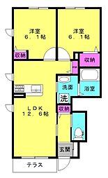 兵庫県加古川市野口町水足の賃貸アパートの間取り
