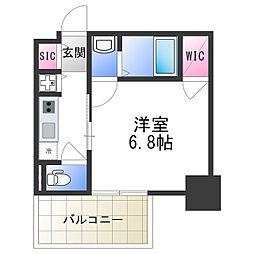 エスリード大阪上本町レジェーロ 7階1Kの間取り