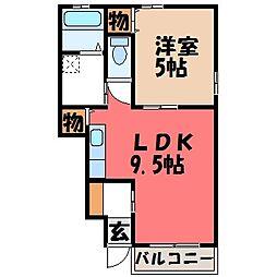 栃木県下都賀郡壬生町至宝3丁目の賃貸アパートの間取り