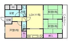 フローラ桜塚[6階]の間取り