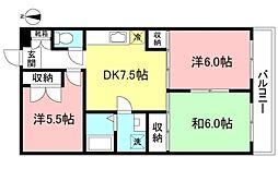 西武国分寺線 恋ヶ窪駅 徒歩4分の賃貸マンション 3階3DKの間取り