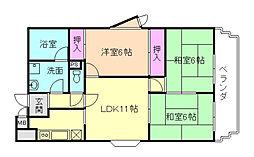 フローラ桜塚[4階]の間取り