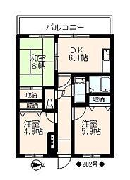 フォブール松隈[202号室]の間取り