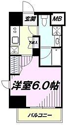 JR中央線 立川駅 徒歩10分の賃貸マンション 10階1Kの間取り