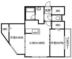 NOBLESSE札幌南6条[206号室]の間取り