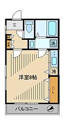 第二大江戸コーポ 2階ワンルームの間取り