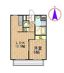 新潟県新発田市御幸町2丁目の賃貸マンションの間取り