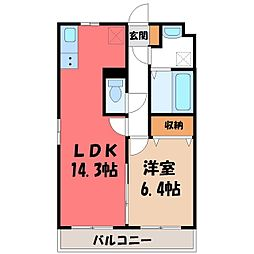 栃木県宇都宮市宮の内1丁目の賃貸マンションの間取り