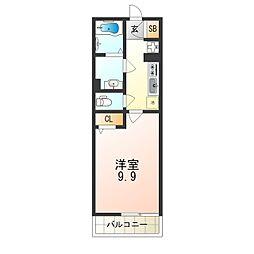 京阪本線 千林駅 徒歩2分の賃貸マンション 3階1Kの間取り