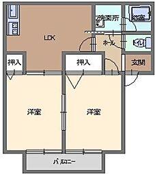 福岡県福岡市西区戸切3丁目の賃貸アパートの間取り