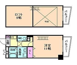 サンシャイン西梅田 8階2Kの間取り