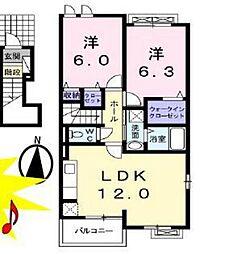 ラフレシール リヴィエラII 2階2LDKの間取り