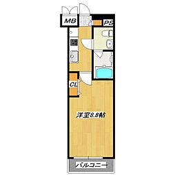 JR総武線 新小岩駅 徒歩8分の賃貸マンション 2階1Kの間取り