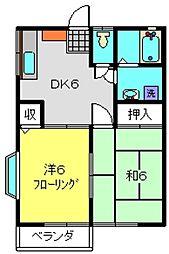 エステートYASUI A[206号室]の間取り