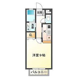 愛知県豊橋市向草間町字向西の賃貸アパートの間取り