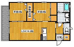 福岡県大野城市雑餉隈町2丁目の賃貸アパートの間取り