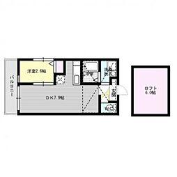 福岡県福岡市早良区室見1丁目の賃貸アパートの間取り