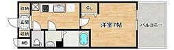 近鉄南大阪線 河堀口駅 徒歩4分の賃貸マンション 2階1Kの間取り