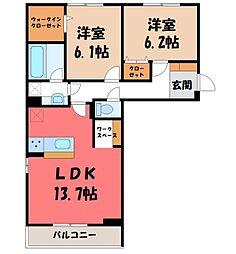 (仮)D-room石井町 F 3階2LDKの間取り