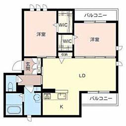 泉北高速鉄道 中百舌鳥駅 徒歩12分の賃貸マンション 2階2LDKの間取り