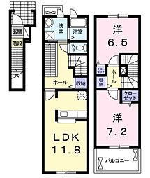 埼玉県北葛飾郡松伏町田中3丁目の賃貸アパートの間取り