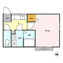 埼玉県草加市松原5の賃貸アパートの間取り