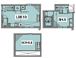 JR総武線 水道橋駅 徒歩12分の賃貸テラスハウス 3階1LDKの間取り