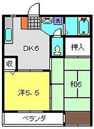 ビューハイツ松見[203号室]の間取り