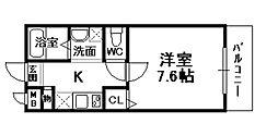 JR福知山線 宝塚駅 徒歩5分の賃貸マンション 1階1Kの間取り