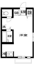 シャトル武蔵野 2階ワンルームの間取り