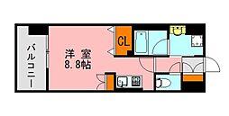 西鉄天神大牟田線 西鉄平尾駅 徒歩13分の賃貸マンション 8階ワンルームの間取り