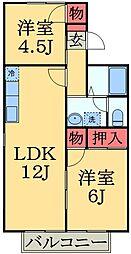 千葉県千葉市緑区おゆみ野5丁目の賃貸アパートの間取り
