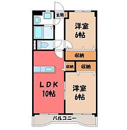 リリアコート 5階2LDKの間取り