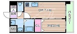 阪急京都本線 正雀駅 徒歩3分の賃貸マンション 2階1DKの間取り