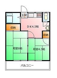 埼玉県鶴ヶ島市脚折町1丁目の賃貸アパートの間取り